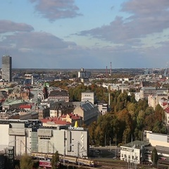 View of Riga from the observation deck of the Latvian Academy of Sciences, Riga, Stock Footage