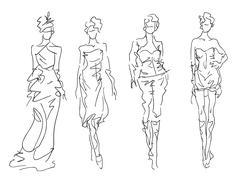 Sketch Fashion Poses - Stylized women Stock Illustration