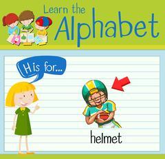 Flashcard letter H is for helmet Stock Illustration