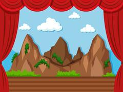Stage background with mountain and grass Stock Illustration