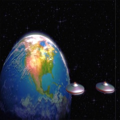 Vintage Alien Invasion: UFO Armada arriving at Earth (Color) Stock Footage