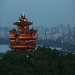 City God Pavilion modern city skyline and office buildings in Hangzhou at riverb Stock Footage