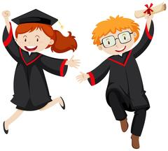 Two graduated students in graduation gowns Stock Illustration