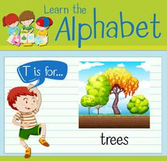 Flashcard letter T is for trees Stock Illustration