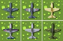Six designs of military airplane Stock Illustration