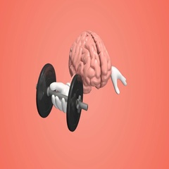 Human brain exercising with dumbbell. Brain training memory concept. Stock Footage