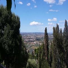 Villa d'Este Tivoli, Italy. View from the hill of Rome Stock Footage