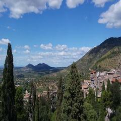 Villa d'Este Tivoli, Italy. View of the valley Stock Footage