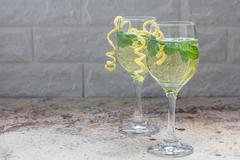 Spritzer cocktail with white wine, mint and ice, horizontal, copy space Stock Photos