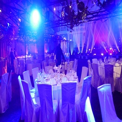 Large empty banquet hall waiting for guests Stock Footage