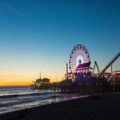 Santa Monica Pier, California With Ferris Wheel Dusk Timelapse Stock Footage