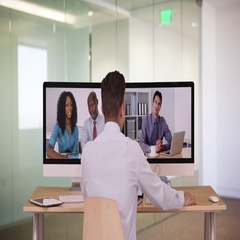 Diverse group of business associates having internet based web conference Stock Footage