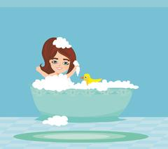 Baby girl taking bath and playing Stock Illustration