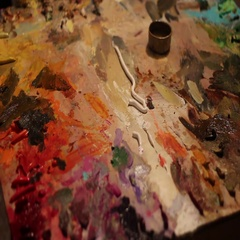Oil Painting Palette Stock Footage