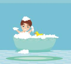 Baby boy taking bath and playing Stock Illustration