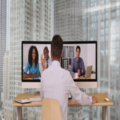 Successful group of business associates having internet based web conference Stock Footage