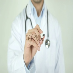 Capsule, Doctor Writing on Transparent Screen Stock Footage