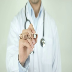 Rehabilitate, Doctor Writing on Transparent Screen Stock Footage