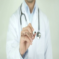Antibodies, Doctor Writing on Transparent Screen Stock Footage