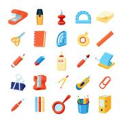 Colorful Stationery Icons Set Stock Illustration