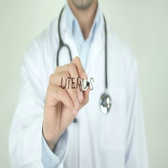 Uterus, Doctor Writing on Transparent Screen Stock Footage