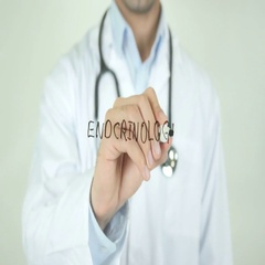 Endocrinologist, Doctor Writing on Transparent Screen Stock Footage