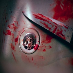 Horror Scene - Knife and Blood in the Sink Stock Footage