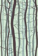 Forest Branches seamless pattern. Fog in spring, winter bare trees vector. Stock Illustration