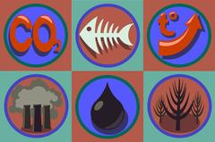 Ecological problems icon set. World pollution, global warming Stock Illustration