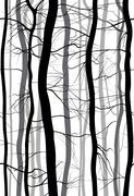 Forest Branches seamless pattern. Monochrome , winter bare trees vector. Stock Illustration