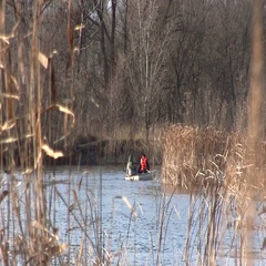 People Boating Among Dry Reed In The Fall Lake. Bare Trees In The Background Stock Footage