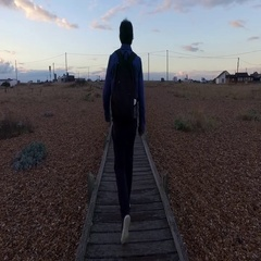 Man walking on a wooden path Stock Footage