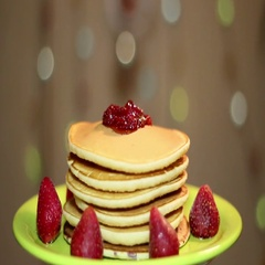 American pancakes with strawberries. Stock Footage