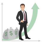 Happy businessman or manager stands near a pile of money. Profit success salary Stock Illustration