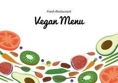 Vegan Restaurant cafe menu, superfood vegetable fruit template design. Food Piirros