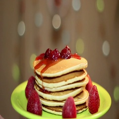 American pancakes with strawberries and jam. Stock Footage