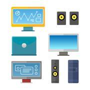 Set of Computer Peripherals Illustrations Stock Illustration