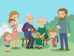 Big family characters with mother father grandmother grandfather kids baby child Stock Illustration