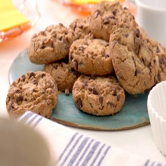 Chocolate chip cookies on a plate. Homemade biscuits on a table. Stock Footage