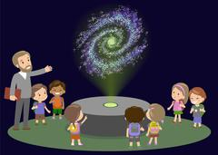 School Trip to Planetarium with Teacher. Kids boy and girls on lecture about Piirros