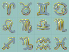 Golden Zodiac Signs Stickers Horoscope astrology symbols vector on turquoise Stock Illustration