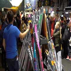 Many buyers choose ski and snowboard equipment Stock Footage