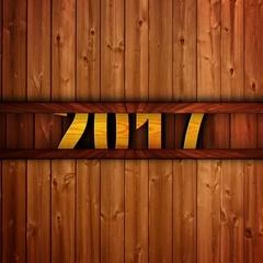 2017, New Year Text in Wood Door, Open / Close, Loop, 4k Stock Footage
