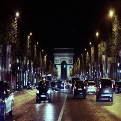 Triumphal arch. Paris. France. Static camera, real time. Place Charles de Gaulle Stock Footage