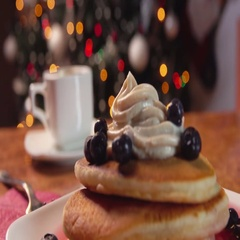 Breakfast of coffee and pancakes Stock Footage