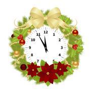 Christmas Adorned Clock Stock Illustration