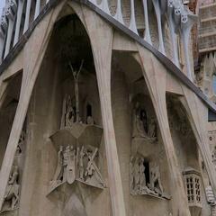 Barcelona, Spain Sagrada Familia towers construction cranes. Stock Footage