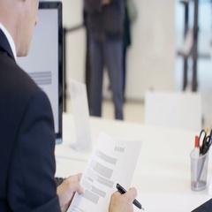 4K Modern city bank, adviser assisting customer & getting signature on document Stock Footage