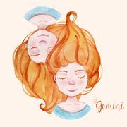 Watercolor horoscope sign gemini Stock Illustration