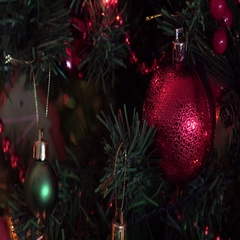 Christmas Composition Top View, red balls, new year eve's Stock Footage